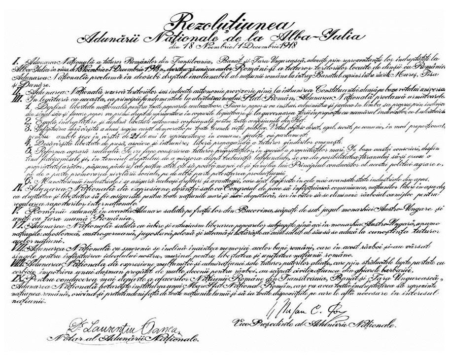 Rezoluția Adunării Naţionale de la Alba Iulia din 18 Noiembrie/1 Decembrie 1918